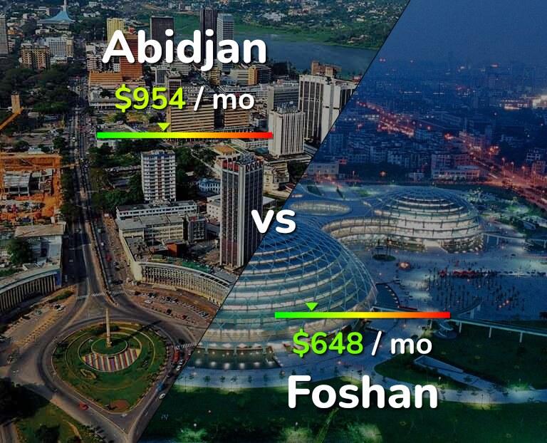 Cost of living in Abidjan vs Foshan infographic