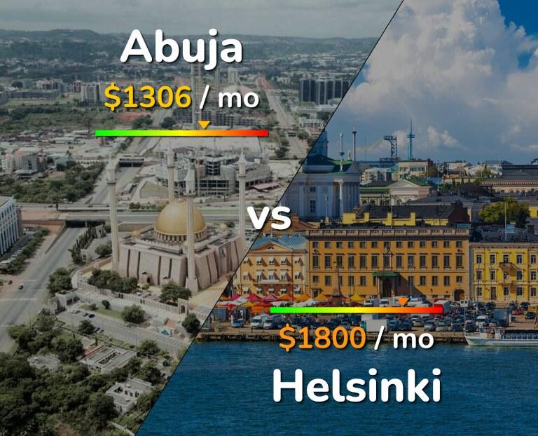 Cost of living in Abuja vs Helsinki infographic
