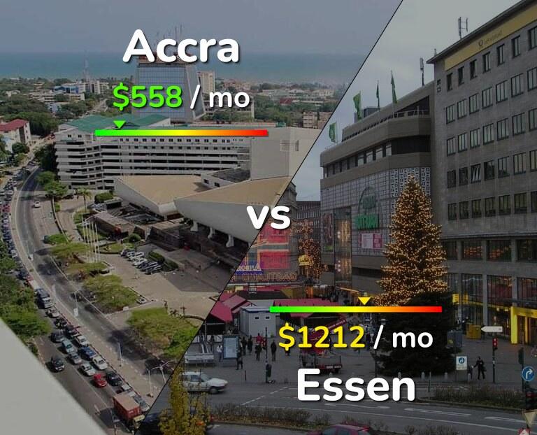 Cost of living in Accra vs Essen infographic
