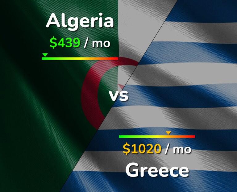 Cost of living in Algeria vs Greece infographic