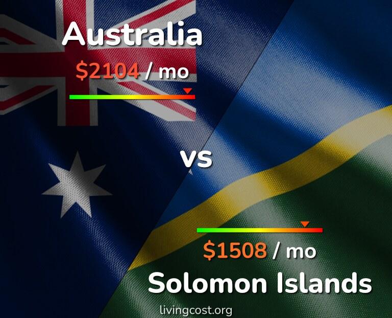Cost of living in Australia vs Solomon Islands infographic