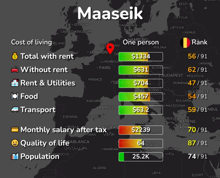 Cost of living in Maaseik infographic