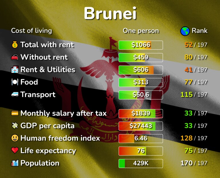 Cost of living in Brunei infographic