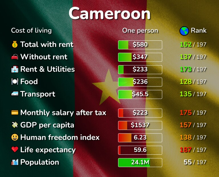 Cost of living in Cameroon infographic