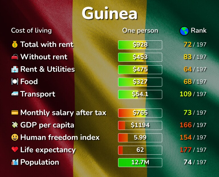 Cost of living in Guinea infographic