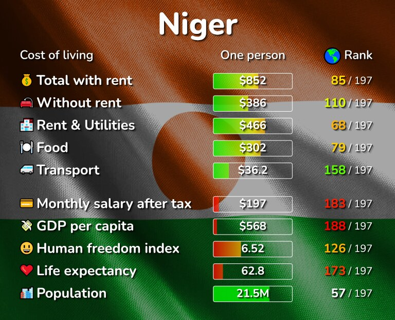 Cost of living in Niger infographic