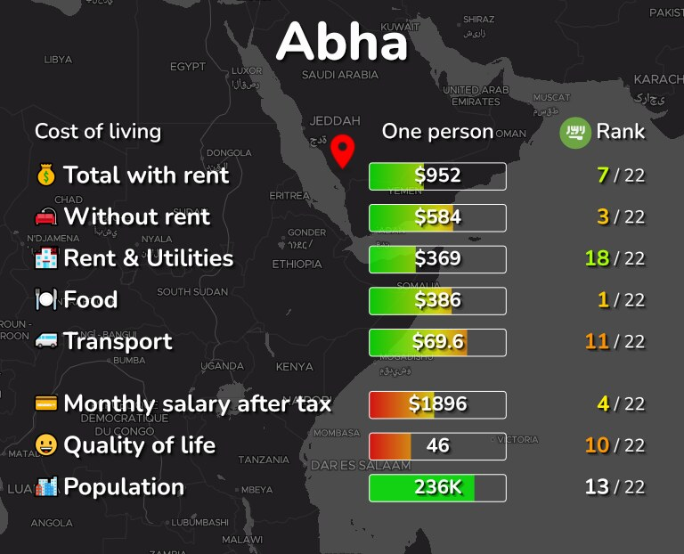 Cost of living in Abha infographic