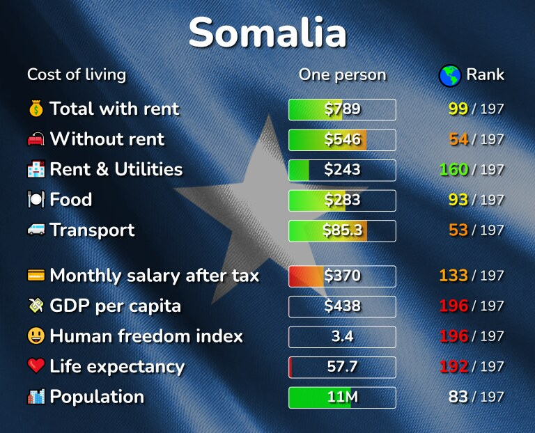 Cost of living in Somalia infographic
