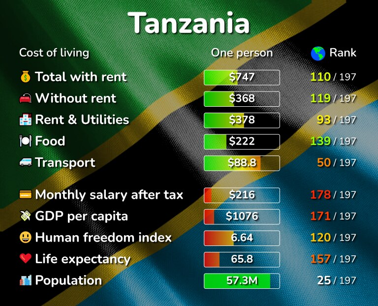 Cost of living in Tanzania infographic
