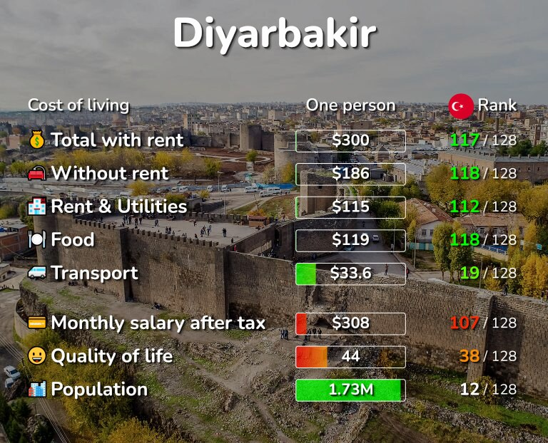 Cost of living in Diyarbakir infographic